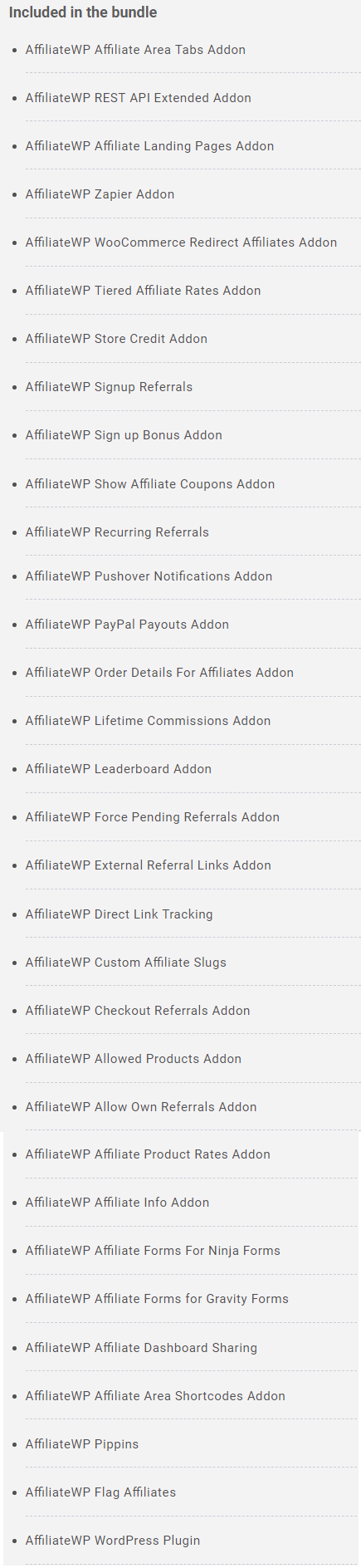 AffiliateWP Bundle (Includes All Add-ons)